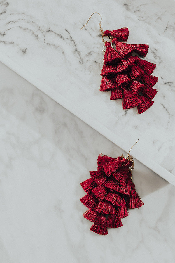 Tassel Talk Earrings in Wine