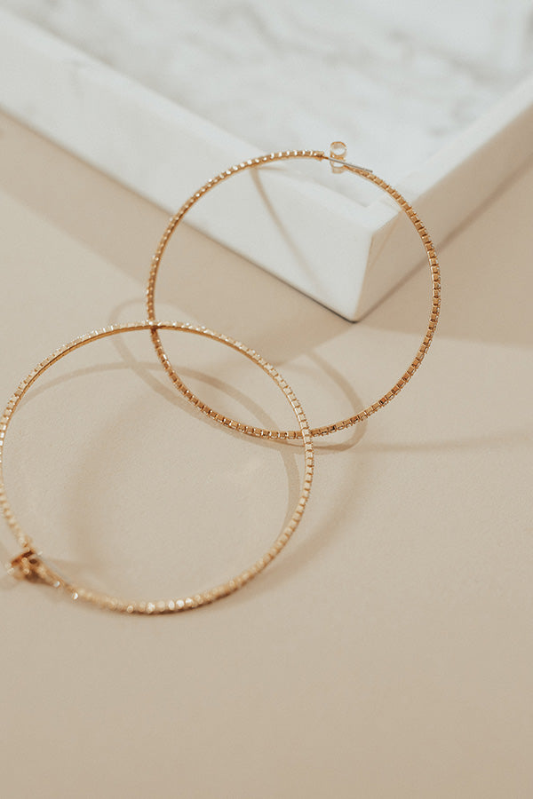 Chicago Sparkle Hoop Earring in Gold
