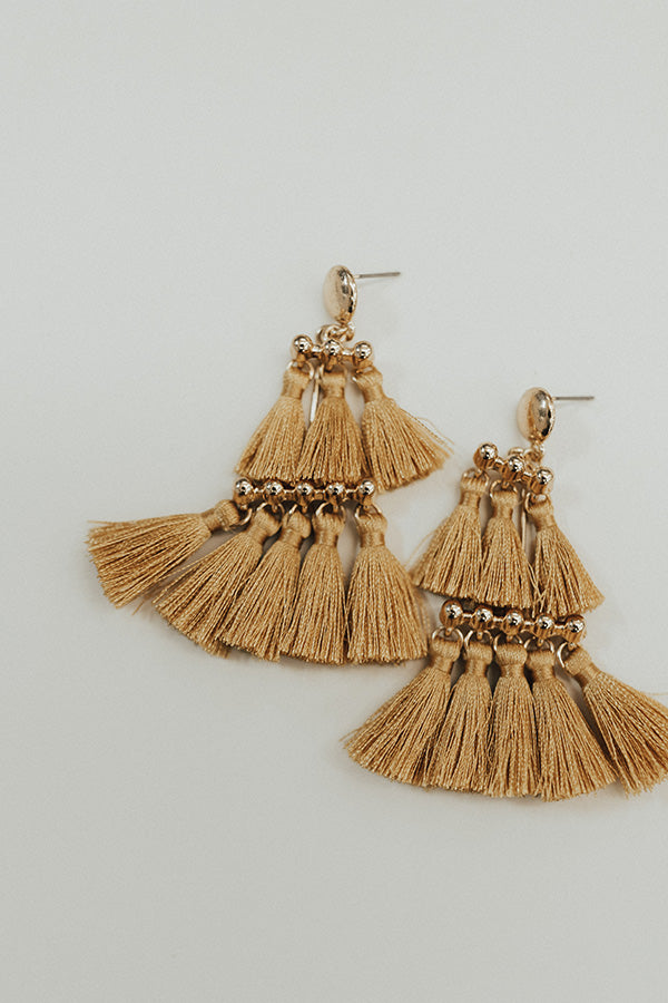 Salsa At Sunset Tassel Earrings in Mustard