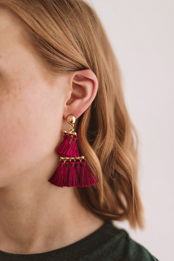 Salsa At Sunset Tassel Earrings in Wine