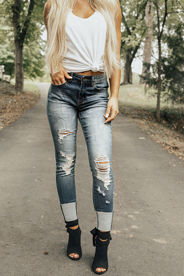 The Gia Mid Rise Distressed Skinny