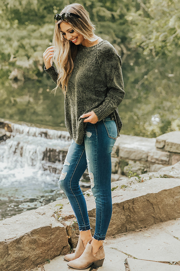 Twirling Under The Stars Chenille Sweater in Olive