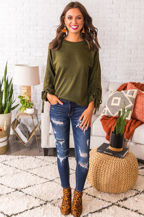 Getting Colder Shift Sweater In Olive