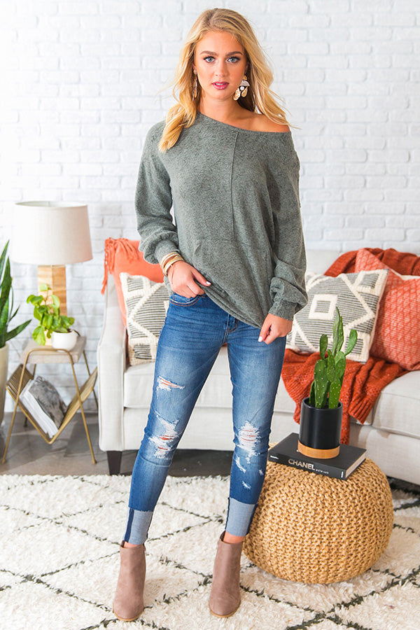 Let's Snuggle Sweatshirt in Olive
