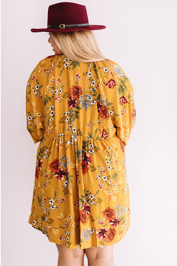 Harvest Happiness Floral Shift Dress in Mustard
