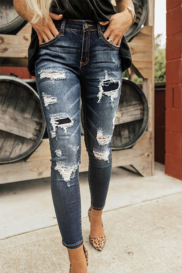 The Sarah Mid Rise Distressed Skinny