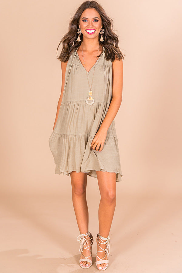 Harvest Moon Babydoll Dress in Light Sage