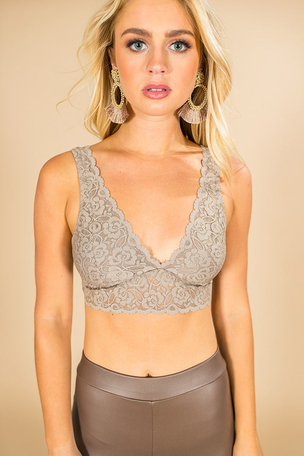 London Lace Bralette in Taupe