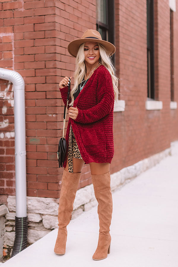 Better Bundle Up Chenille Cardigan in Wine