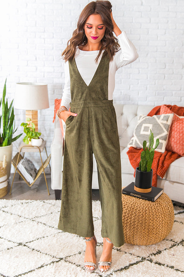 Autumn Getaway Faux Suede Jumpsuit in Olive