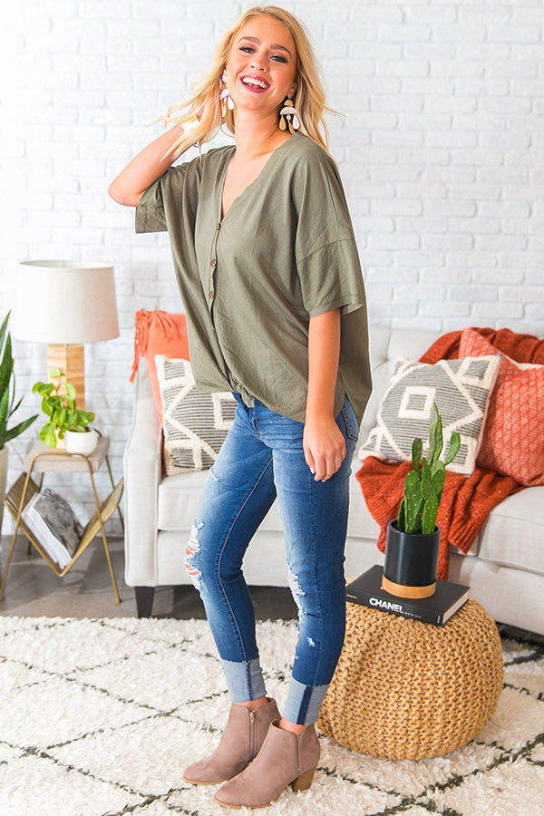Glamping With The Girls Shift Top In Sage