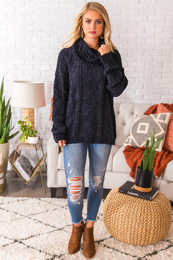 Charleston Cuddles Chenille Sweater in Navy