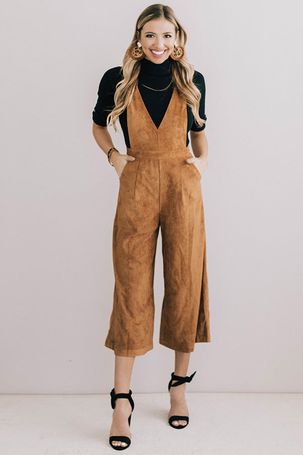 Autumn Getaway Faux Suede Jumpsuit in Camel