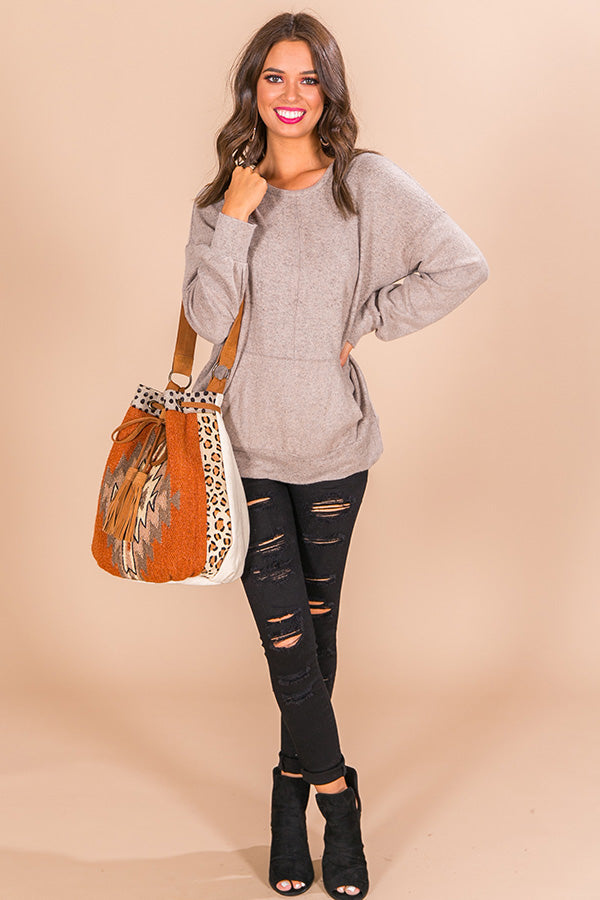 Let's Snuggle Sweatshirt in Taupe