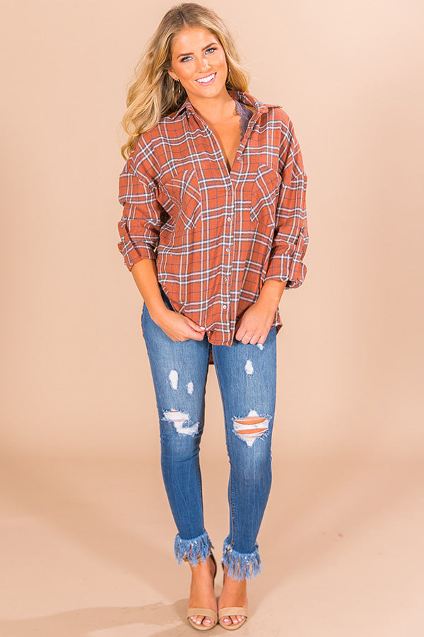 California Campfire Plaid Top In Cinnamon