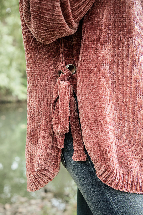 Twirling Under The Stars Chenille Sweater in Rustic Rose