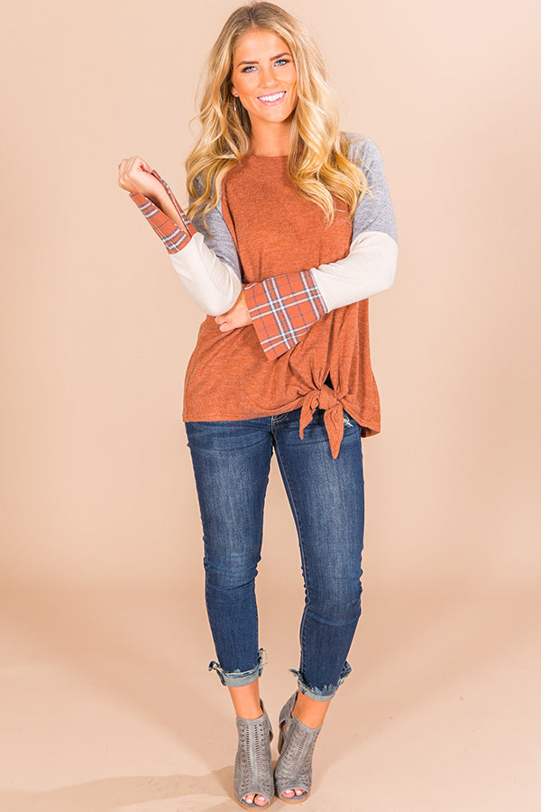 Campfire Classic Color Block Top In Camel