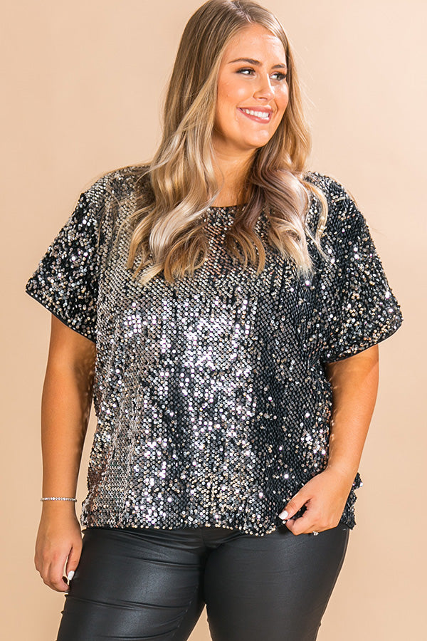The Main Event Sequin Shift Top In Silver