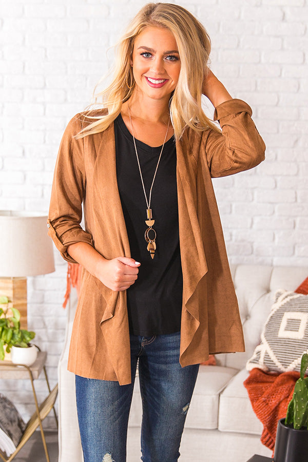 Cappuccino Crushing Faux Suede Jacket In Tan