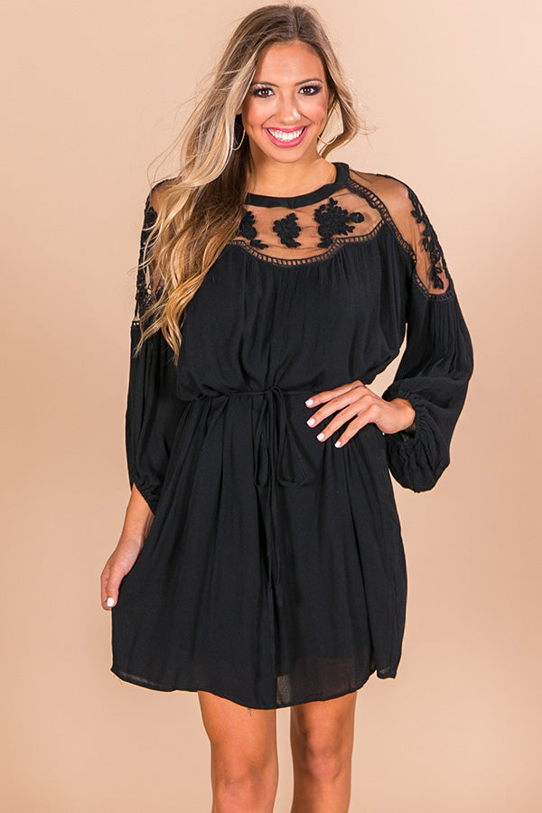 All Day Chic Lace Shift Dress in Black