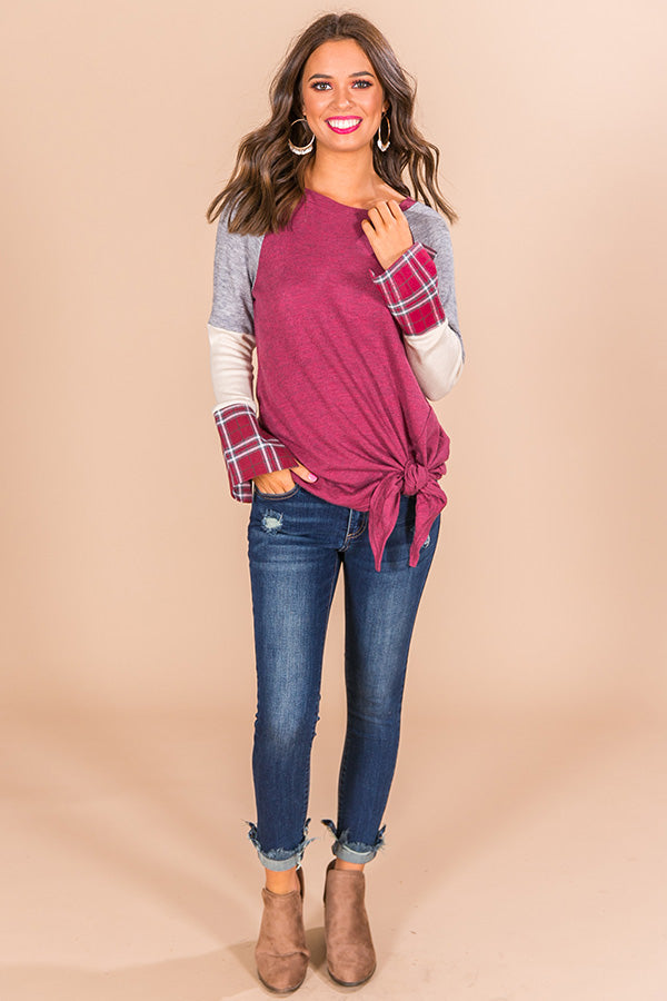 Campfire Classic Color Block Top In Sangria