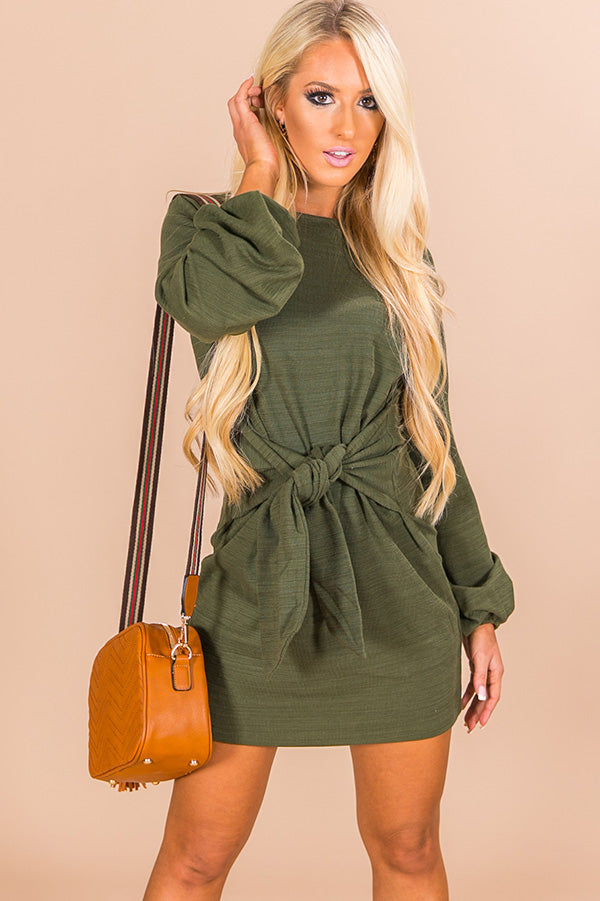 Pinot In Colorado Sweater Dress In Army Green