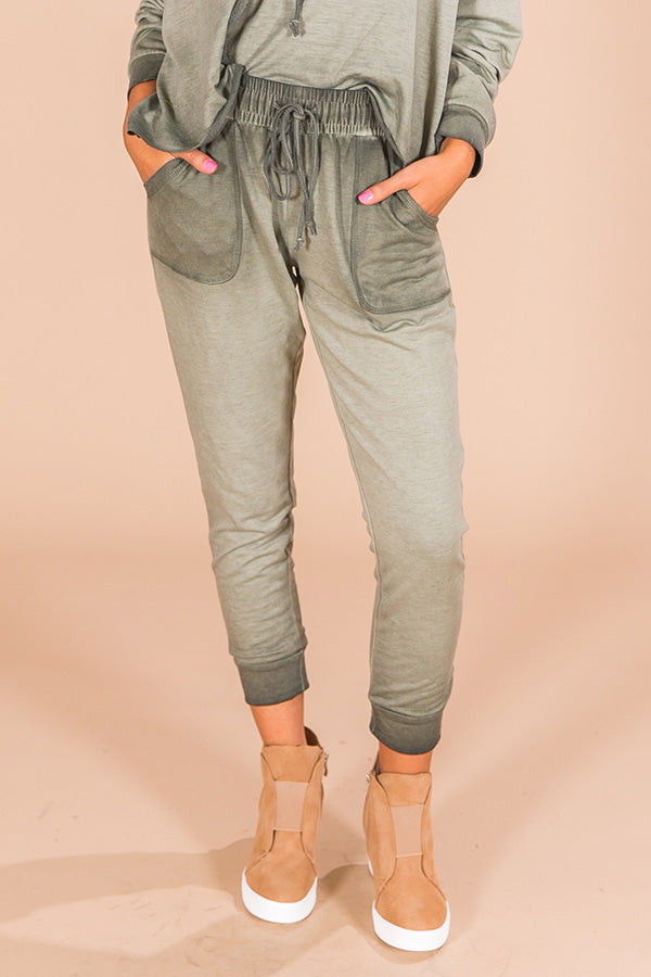 Time To Chill Vintage Wash Joggers In Sage
