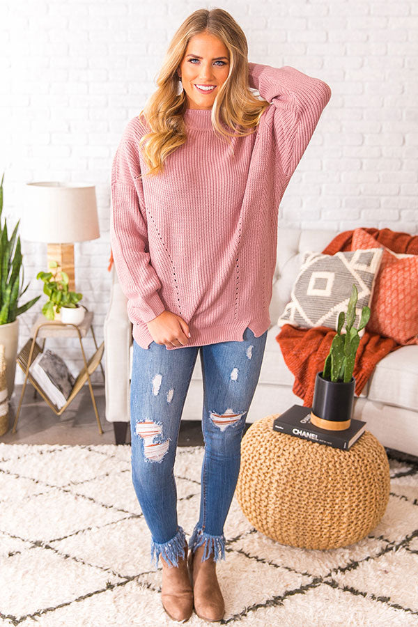 Meet Me On The Slopes Sweater In Blush
