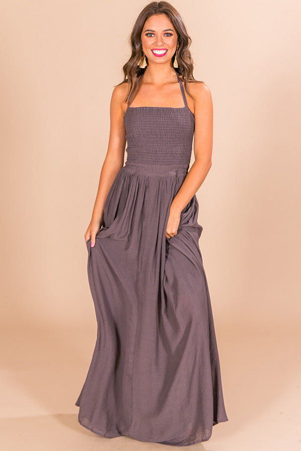 Making Headlines Maxi Dress in Lilac Grey