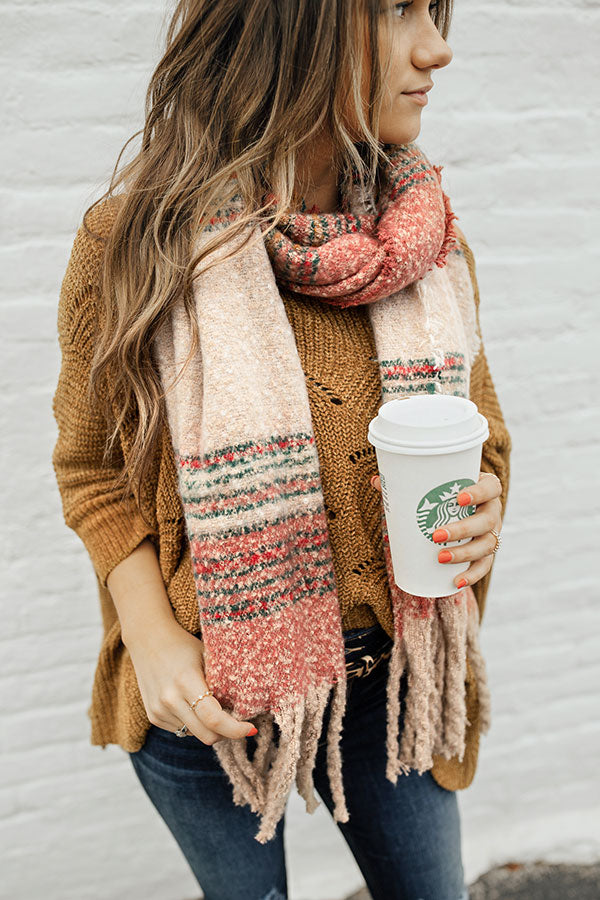 Stay Cozy Scarf In Rose