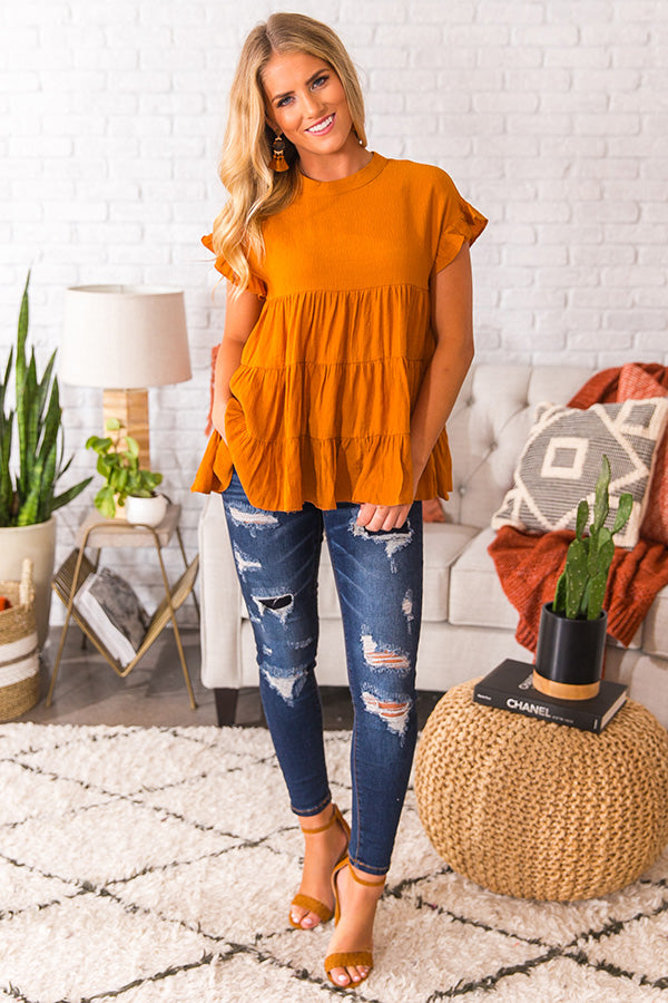 Coffee Date Crushin' Babydoll Top In Pumpkin
