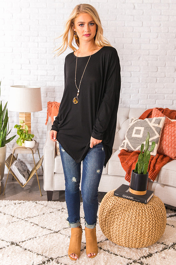 Frost and Kisses Shift Top in Black