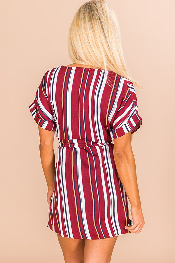 Sunny Side Up Striped Dress In Wine