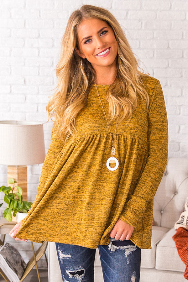 Chic In The Alps Babydoll Top In Mustard