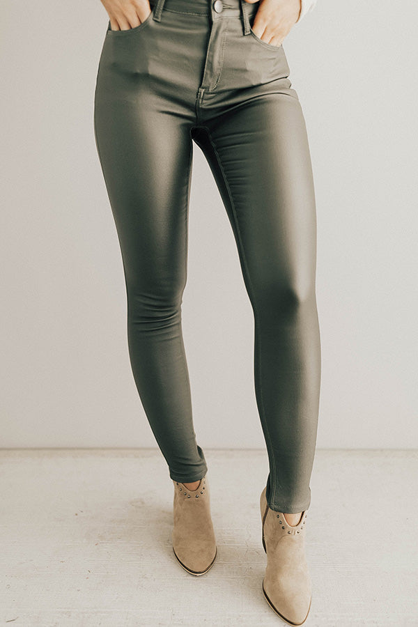 Editor's Choice Faux Leather Midrise Skinny In Olive