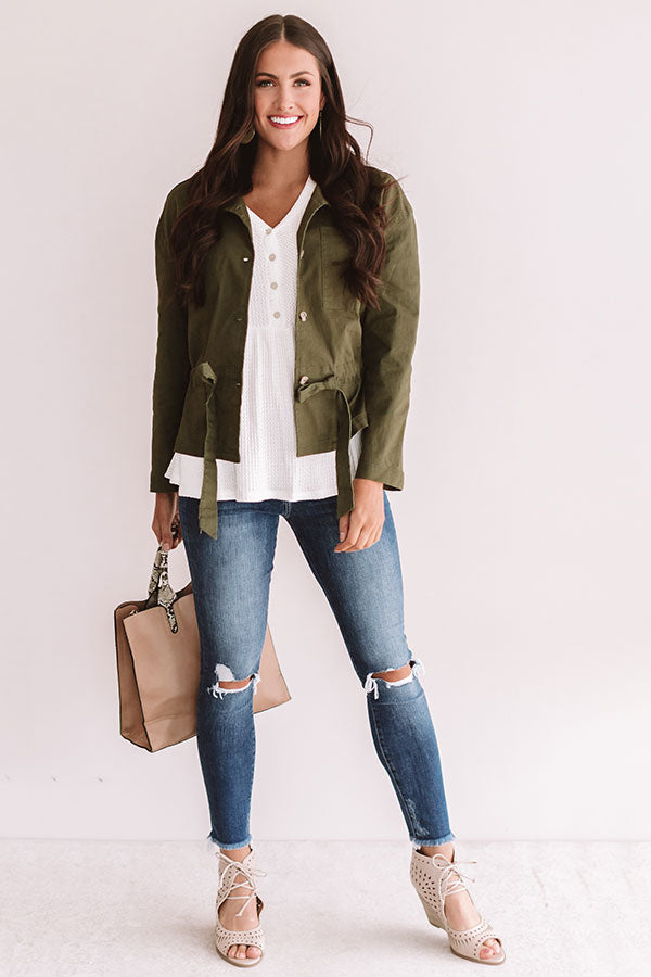Meet Me In Central Park Light Weight Jacket In Army Green