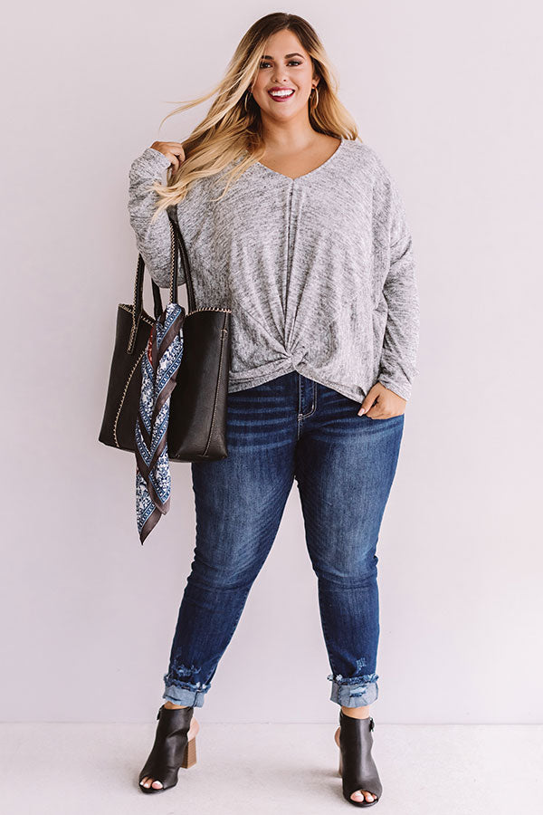Just Add Cocoa Shift Top In Grey