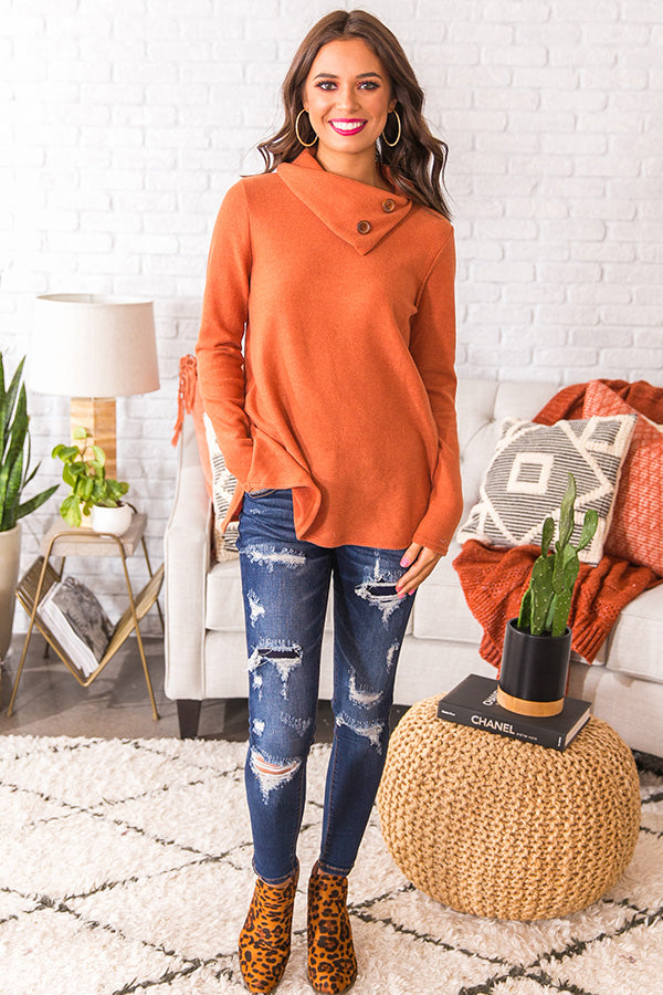 Cozy In Connecticut Shift Sweater In Pumpkin