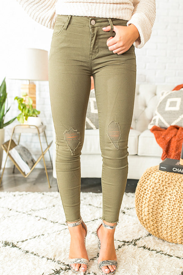 The Bobbi High Waist Distressed Skinny In Olive