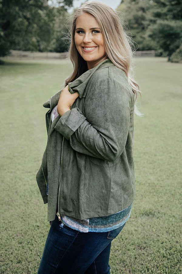 Sacramento Stroll Faux Suede Jacket in Martini Olive