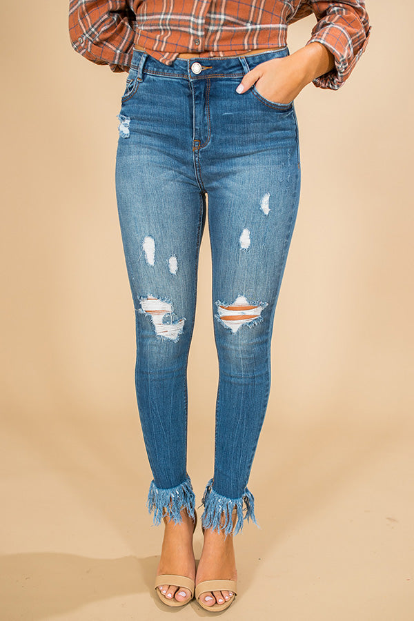 The Laney High Waist Frayed Ankle Skinny