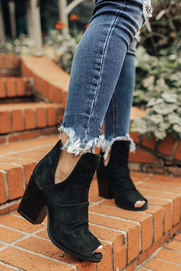The Emery Faux Suede Bootie in Black