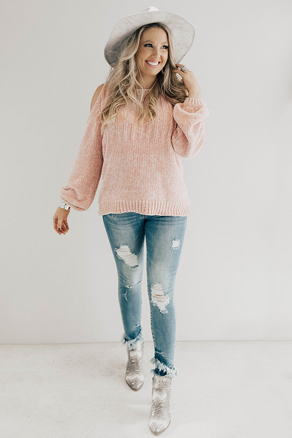 Apple Cider Softness Chenille Sweater In Light Pink