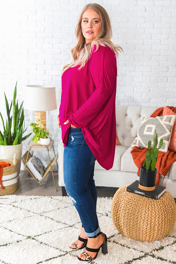 Frost and Kisses Shift Top in Dark Rose