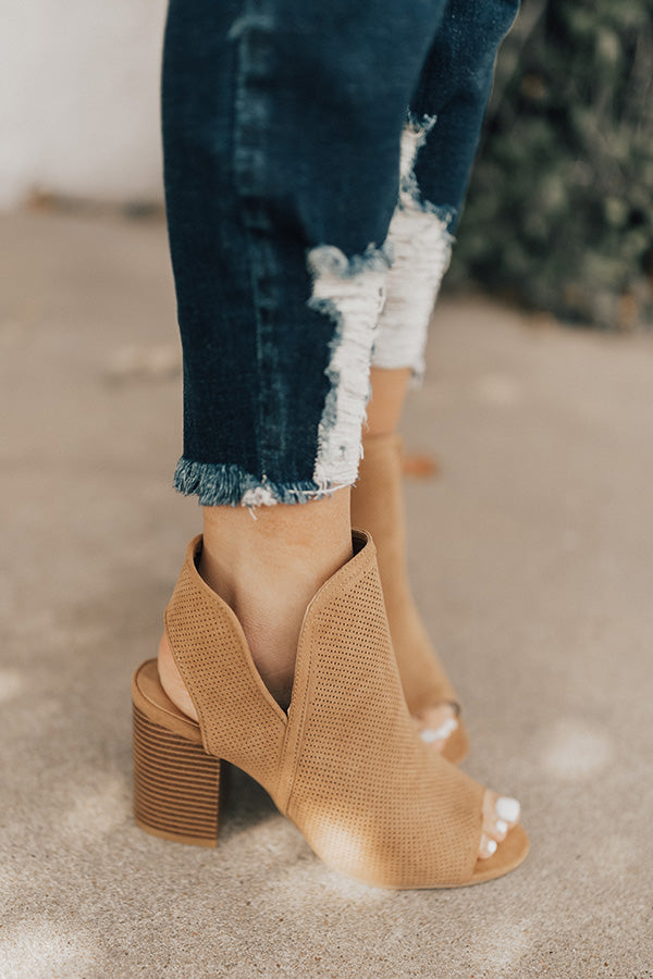 The Gabby Perforated Bootie in Tan