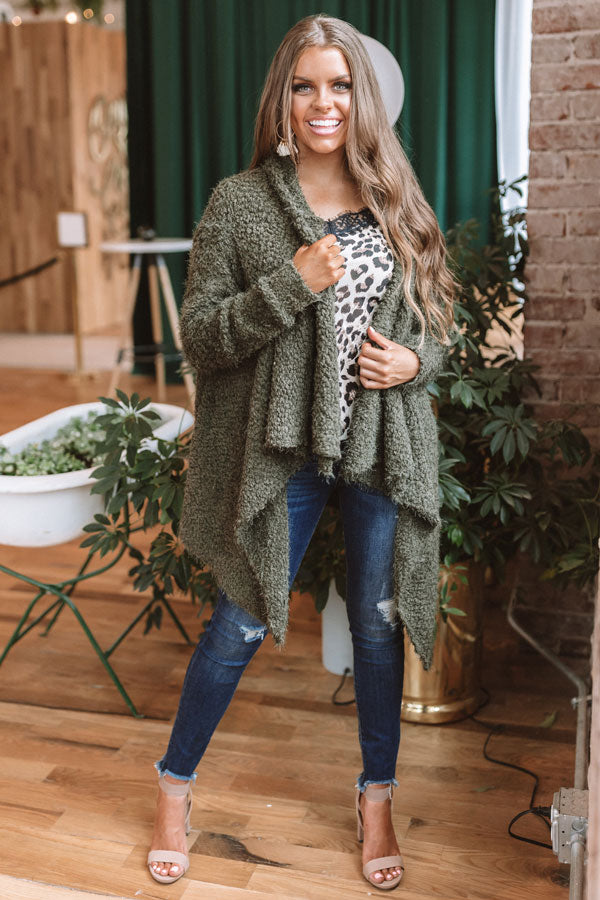 Carolina Cuddles Cardigan in Martini Olive