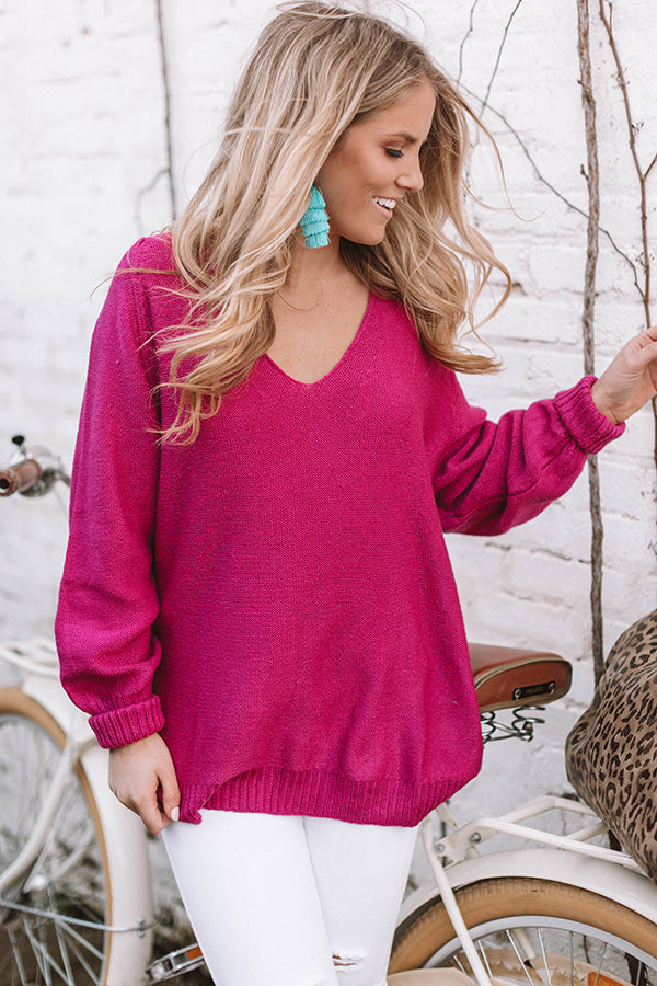 Coffee Date In The City Tunic Sweater in Fuchsia