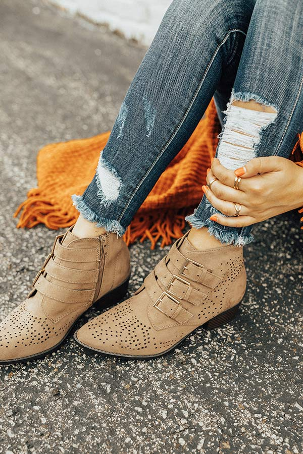 The Willa Faux Suede Bootie in Taupe