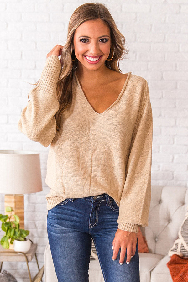 Coffee Date In The City Tunic Sweater in Beige