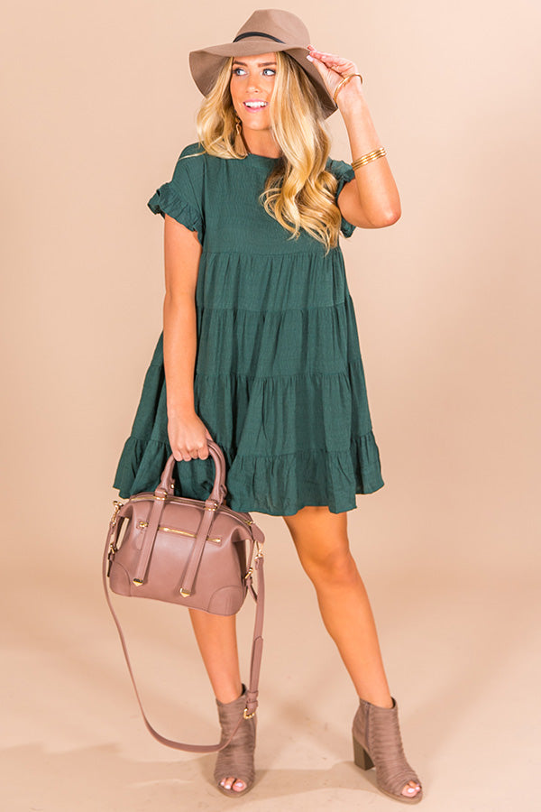 Love Potion Babydoll Dress in Hunter Green